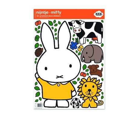 KEK Amsterdam Wall sticker Miffy yellow dress multicolored vinyl foil M 42x59cm