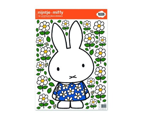 KEK Amsterdam Wall Sticker Miffy robe à fleurs film vinyle M 42x59cm multicouleur