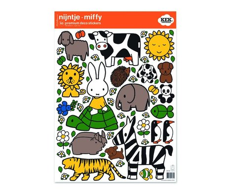 KEK Amsterdam Wall sticker Nijntje dierenvriendjes multicolour vinyl foil M 42x59cm