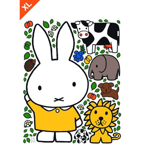 KEK Amsterdam Wall Sticker Miffy robe jaune film vinyle XL 95x120cm multicouleur