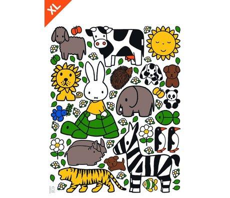 KEK Amsterdam Wall Sticker Miffy Les amis des animaux film vinyle XL 95x120cm multicouleur