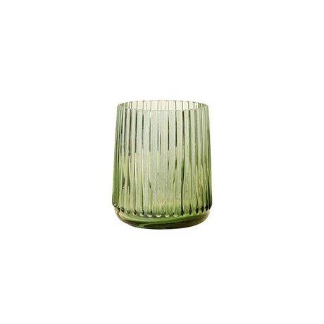 HK-living Vaas S groen glas 9,5x9,5x11cm