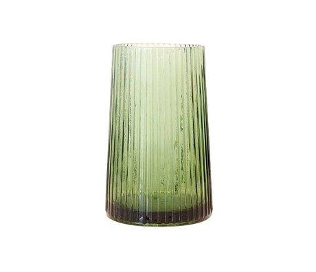HK-living M grüne Glasvase 13x13x20cm