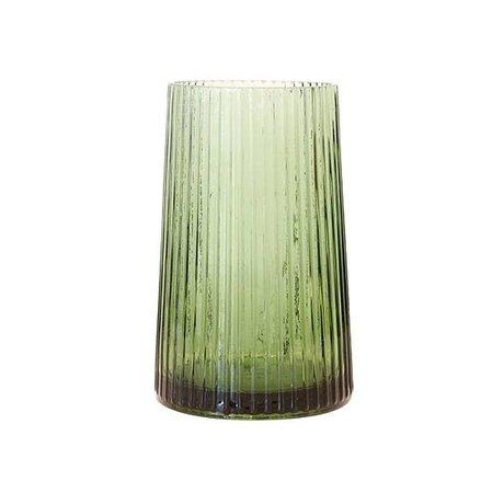 HK-living Vaas M groen glas 13x13x20cm