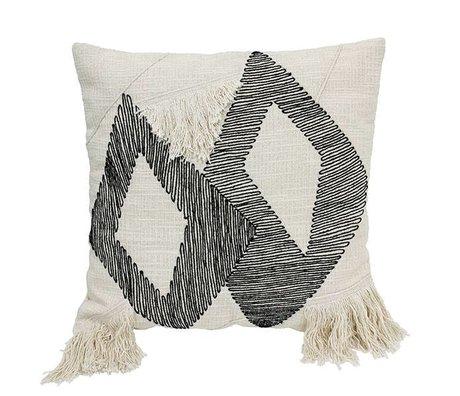 HK-living triangle oreiller en coton noir et blanc 50x50cm