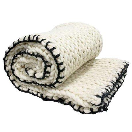 HK-living Couvre-lit en laine noir et blanc tricoté 120x180cm