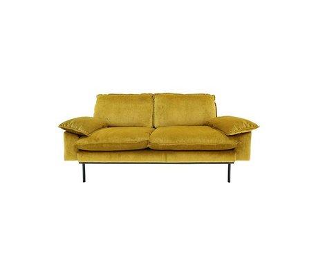 HK-living Bank Trendy Ocher 2-seat yellow velvet 175x83x95cm