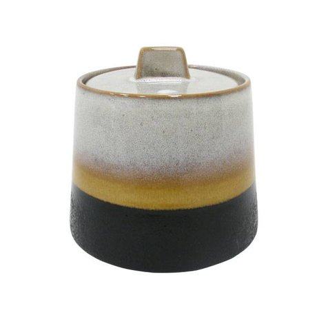HK-living Sugar Bowl Elements' 70er Jahre Stil mehrfarbigen Keramik
