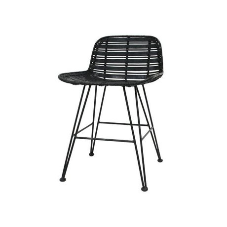 HK-living Bar stool mini black rattan 50x42x65cm