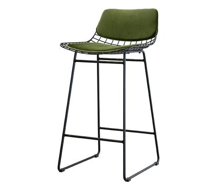 HK-living tabouret de fil métallique velours vert Kit confort