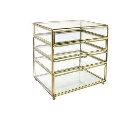 HK-living Bureaulade messing goud glas 27x26x20cm