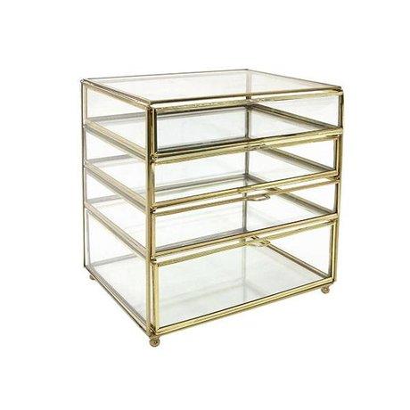 HK-living verre tiroir bureau laiton doré 27x26x20cm