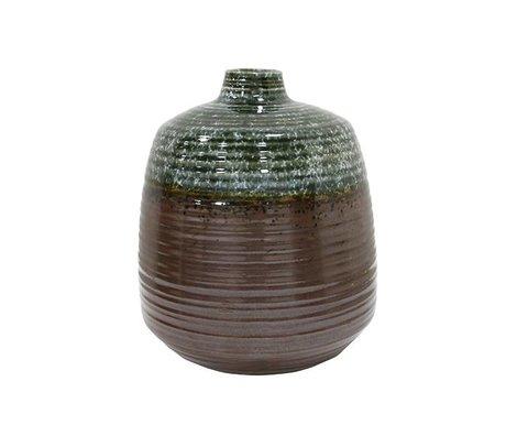 HK-living Vaas groen bruin keramiek 16x16x19,4cm