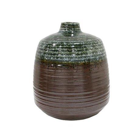HK-living Vase green brown ceramic 16x16x19,4cm