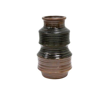 HK-living Vase retro brown ceramic 12x12x20cm