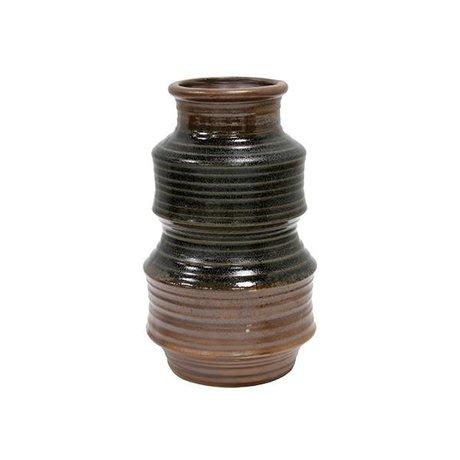 HK-living Vase en céramique brun rétro 12x12x20cm