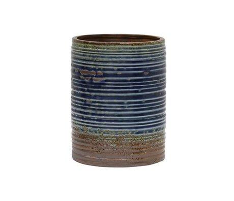 HK-living Blumentopf blau braun Keramik 15,5x15,5x20cm