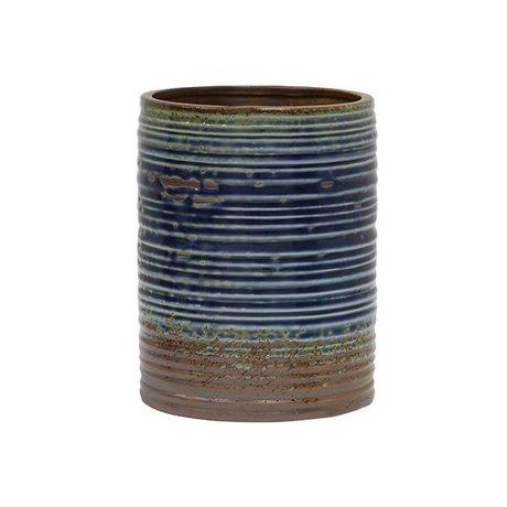 HK-living Bloempot blauw bruin keramiek 15,5x15,5x20cm