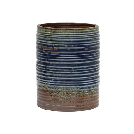 HK-living Flowerpot blue brown ceramic 15,5x15,5x20cm