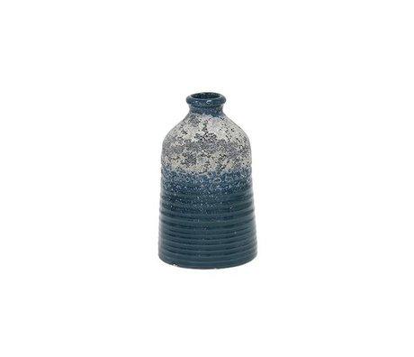 HK-living Vaas S blauw keramiek 8,2x8,2x12,8cm
