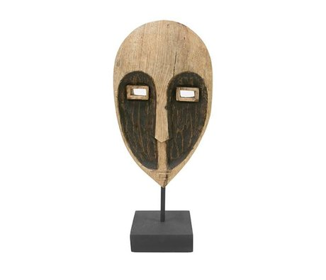 HK-living Ornament Papua Maske braun Holz 17x10x37cm