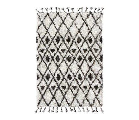 HK-living Vloerkleed Berber hand geknoopt donker bruin wit wol 120x180cm