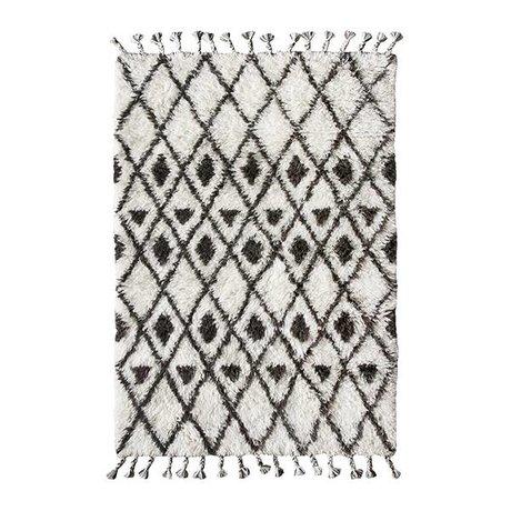 HK-living Berber Teppich handgeknüpft Wolle schwarz und weiß 120x180cm