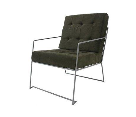 HK-living Fauteuil vert tissu de velours côtelé 61x80x79cm