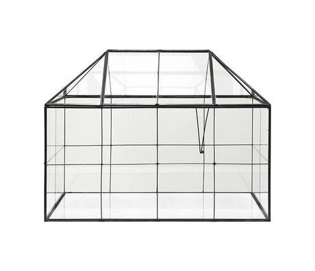 HK-living Mini case transparent glass metal 40x24x32cm