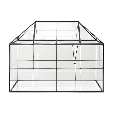 HK-living Mini-Gewächshaus transparentes Glas Metall 40x24x32cm