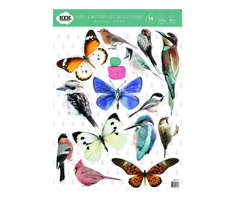 KEK Amsterdam Wall Sticker Set of birds and butterflies multicolored vinyl foil 42x59cm