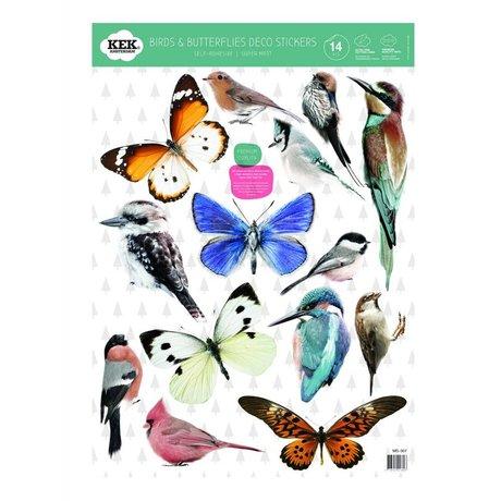 KEK Amsterdam Muursticker Set vogels en vlinders multicolour vinylfolie 42x59cm