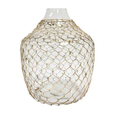 HK-living Vaas met vlechtwerk transparant glas 30x30x32,5cm