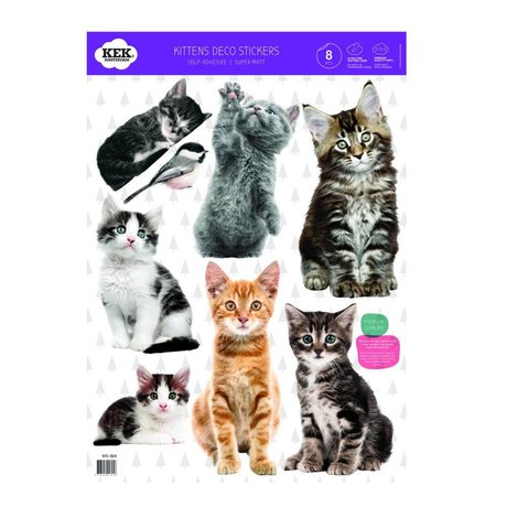 KEK Amsterdam Wall Sticker Set chatons film vinyle multicouleur 42x59cm