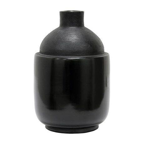HK-living Vase M Chulucanas noir 16,5x16,5x26cm céramique