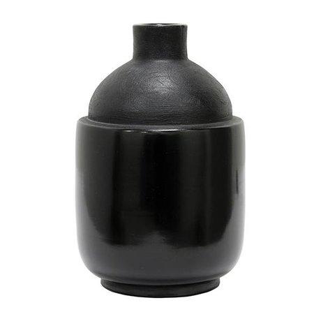 HK-living Vase M Chulucanas schwarze Keramik 16,5x16,5x26cm