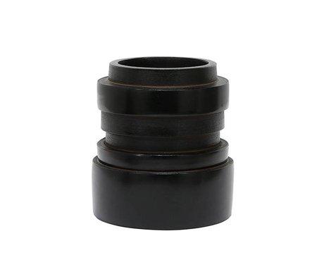 HK-living Vaas S chulucanas zwart keramiek 14x14x15cm
