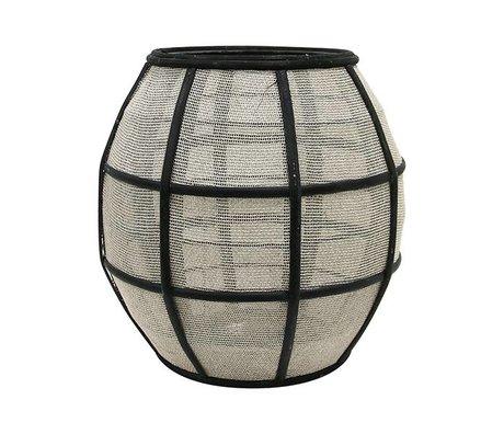 HK-living Laterne Ball schwarz natürlicher brauner Bambus 29,5x29,5x30,5cm