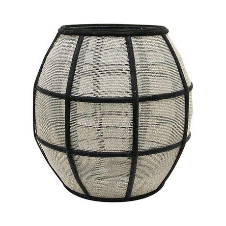 HK-living Lantern ball black natural brown bamboo 29,5x29,5x30,5cm