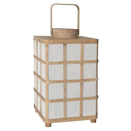 HK-living Lanterne en bambou carré naturel 24,5x24,5x41cm brun