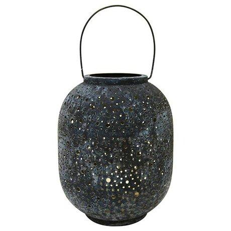 HK-living Lantern gray metal 21,5x21,5x23,5cm