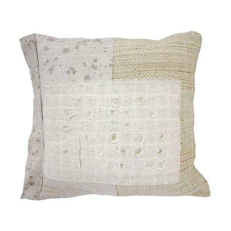 HK-living Kissen Denim gepatcht Creme weiße Baumwolle 50x50cm