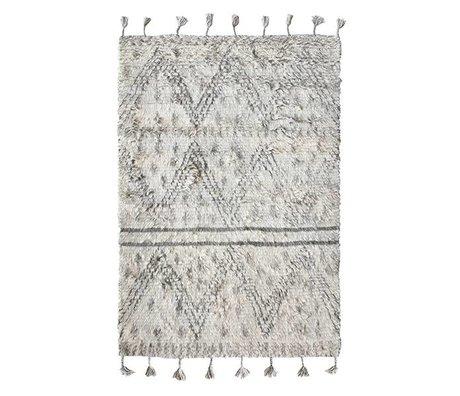 HK-living Tapis berbère en laine tissée à la main gris 180x280cm blanc