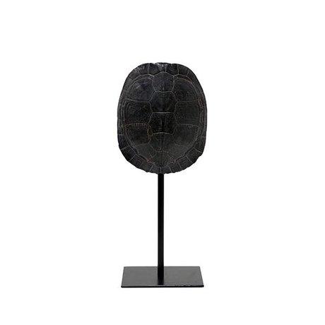 HK-living écaille de tortue artificielle 11x10x26,5cm en plastique noir