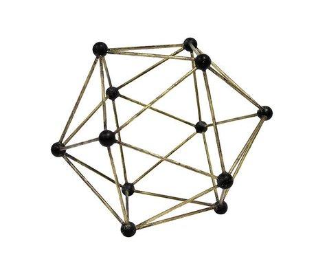 HK-living Ornament Molecular yellow copper brass 25x25x25cm