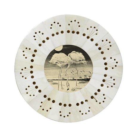 HK-living Cadre autour ø14x1cm perforé blanc