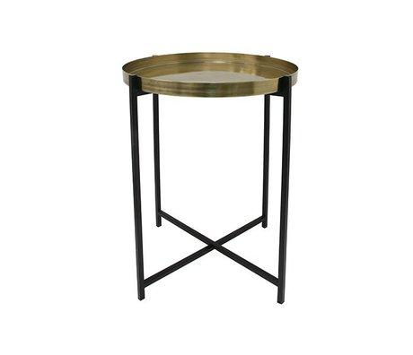 HK-living Table d'appoint M jaune cuivre noir laiton 40x40x55 cm