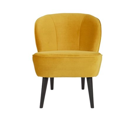 LEF collections Armchair Sara yellow yellow velvet polyester 70x59x71cm