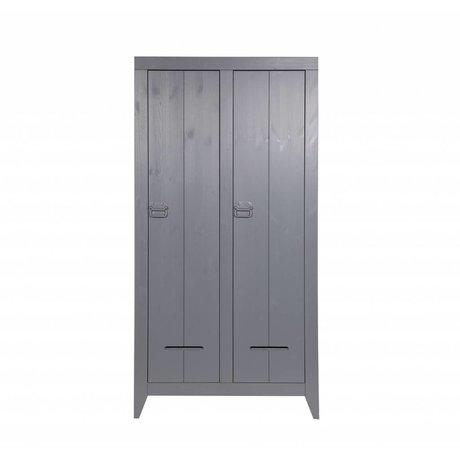 LEF collections Armoire pin 2 de la porte du coffre brossé 95x44x190cm gris