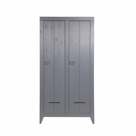 LEF collections Safe 2 door pine cupboard brushed gray 95x44x190cm